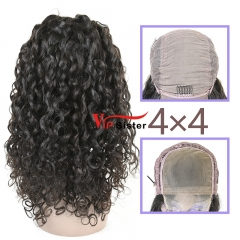 Natural #1b Brazilian Virgin Human Hair 4x4 closure wig italy curly