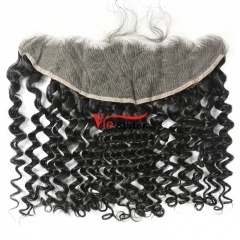 #1b Brazilian Raw Human Hair 13X4 Lace frontal Deep Curly