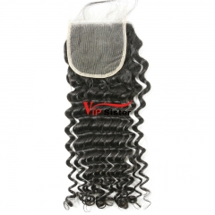 #1b Brazilian Virgin Human Hair 4x4 Lace Closure Deep Curly