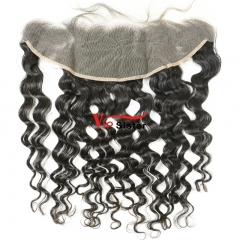 #1b Brazilian Virgin Human Hair 13X4 Lace Frontal Italy Curly